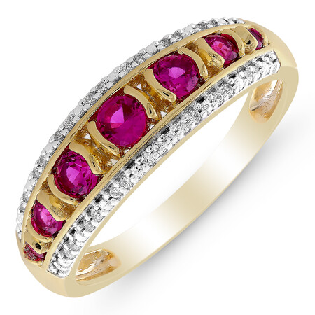 Three Row Ring with Created Ruby & Diamond in 10ct Yellow Gold