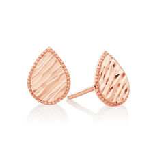 Patterned Pear Studs in 14ct Rose Gold
