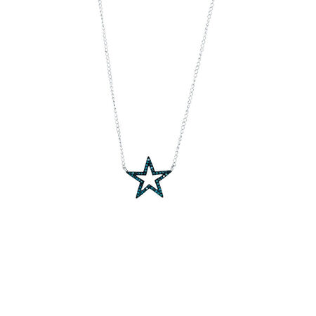 Online Exclusive - Pendant with Enhanced Blue Diamonds in Sterling Silver