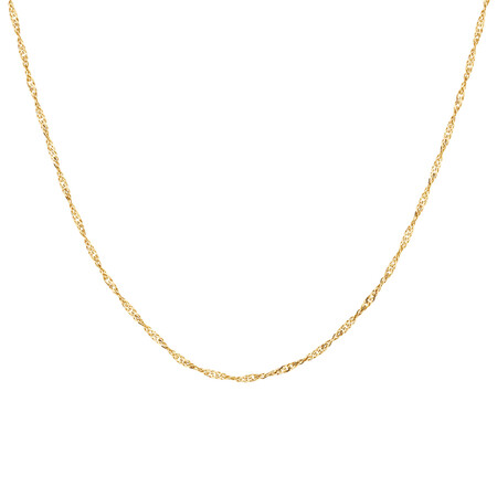"70cm (28"") Hollow Singapore Chain in 10ct Yellow Gold"