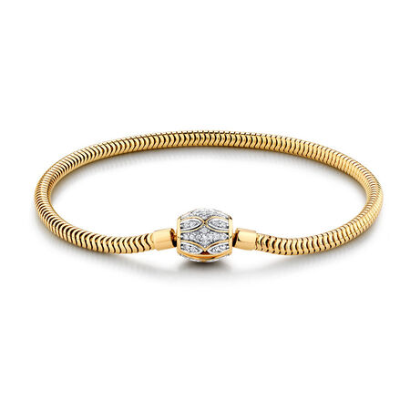 Charm Bracelet with 1/4 Carat TW of Diamonds in 10ct Yellow Gold