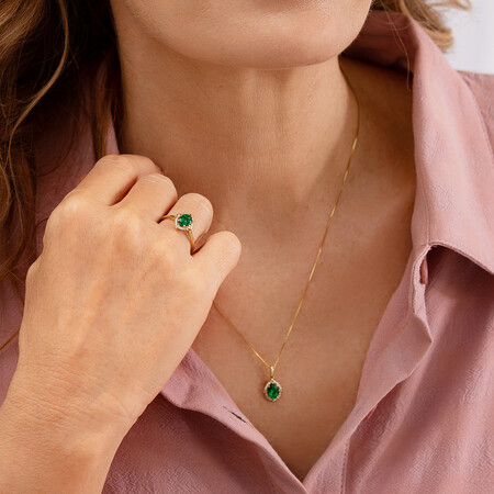 Halo Pendant With Created Emerald & Diamonds in 10ct Yellow Gold