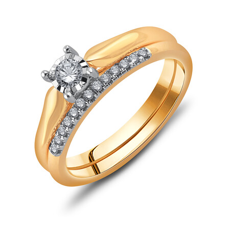 Bridal Set with 0.20 Carat TW of Diamonds in 10ct Yellow Gold