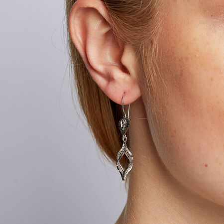 Drop Earrings in 10ct White Gold