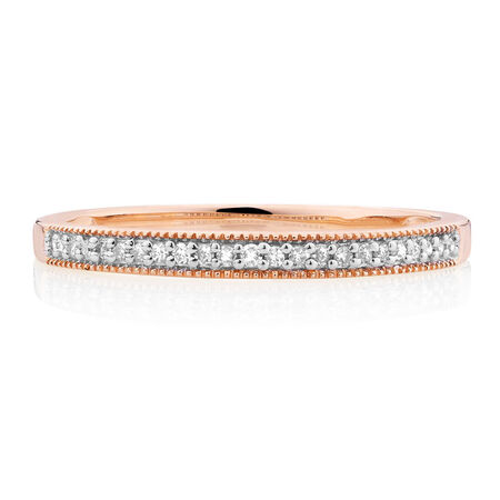 Wedding Band with Diamonds in 10ct Rose Gold