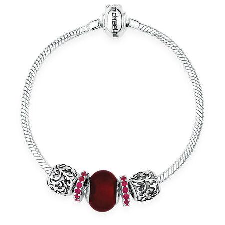 Red Glass & Sterling Silver Charm Bracelet