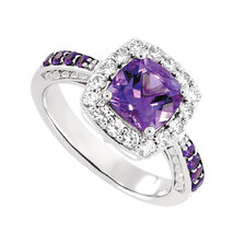 Online Exclusive - Ring with Amethyst & Created White Sapphire in Sterling Silver