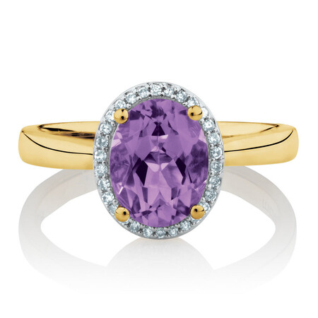 Ring with Amethyst & Diamonds in 10ct Yellow Gold