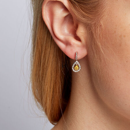 Drop Earrings with 0.18 Carat TW of Enhanced Yellow Diamonds in Sterling Silver