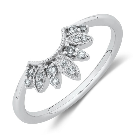 Evermore Contoured Wedding Band with Diamonds in 10ct White Gold