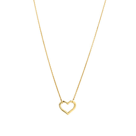 Open Heart Necklace in 10ct Yellow Gold