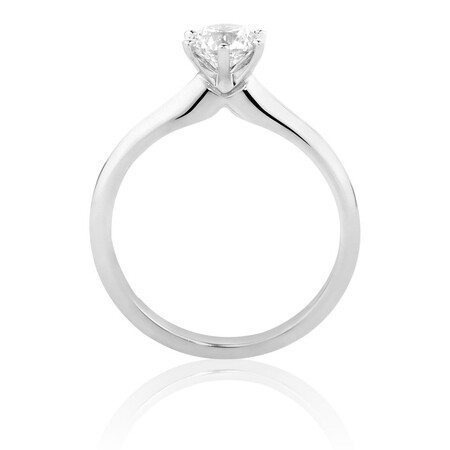 Certified Solitaire Engagement Ring with a 3/4 Carat TW Diamond in 18ct White Gold