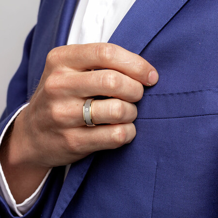 Men's Ring with Diamonds in 10ct Yellow & White Gold