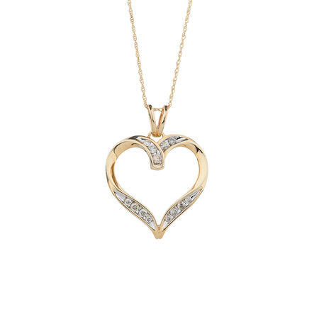 Heart Pendant with 1/4 Carat TW of Diamonds in 10ct Yellow Gold