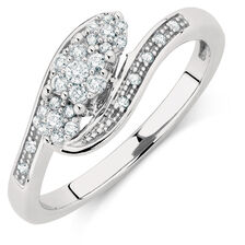 Engagement Ring with 0.20 Carat TW of Diamonds in 10ct White Gold