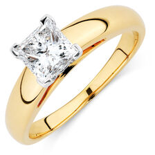 Certified Solitaire Engagement Ring with a 0.95 Carat Diamond in 14ct Yellow & White Gold