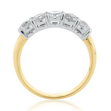 Evermore 5 Stone Wedding Band with 1 Carat TW of Diamonds in 14ct Yellow & White Gold