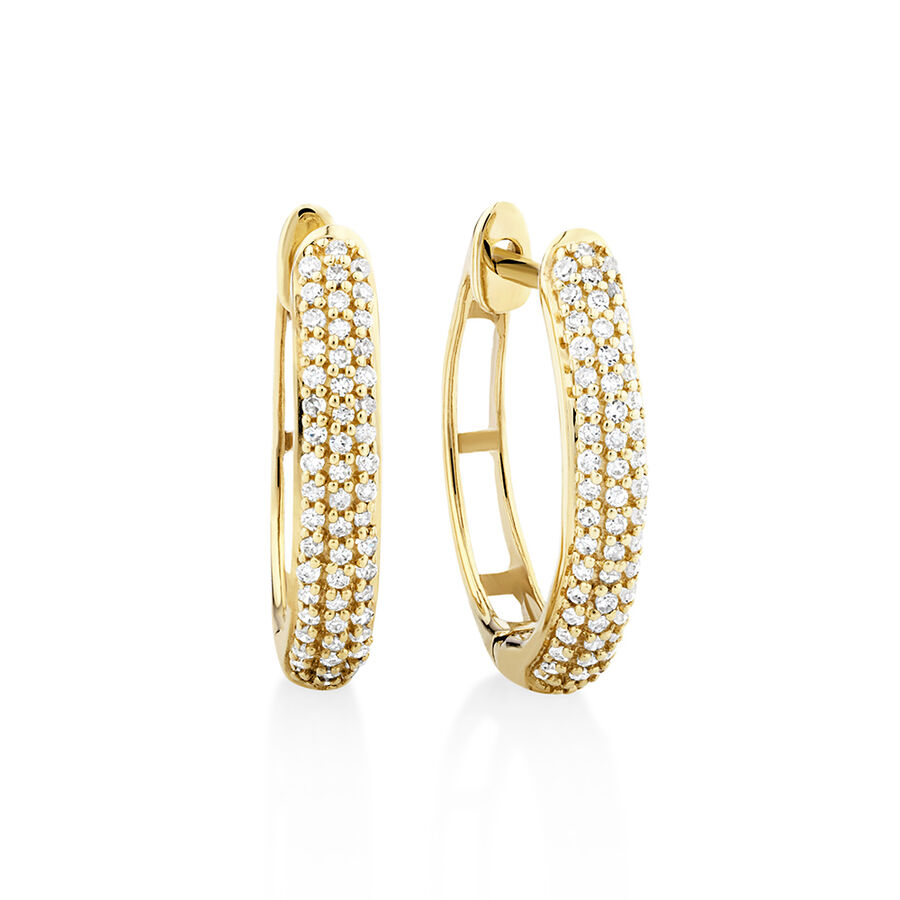 Oval Earrings with 0.20 Carat TW of Diamonds in 10ct Yellow Gold