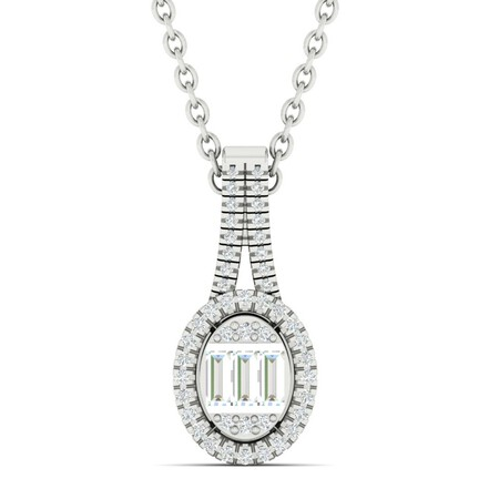 Oval Pendant with 0.25 Carat TW of Diamonds in 10ct White Gold