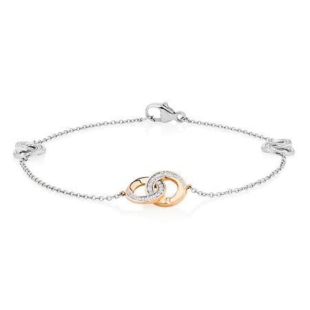 Bracelet with Diamonds in 10ct Rose Gold & Sterling Silver