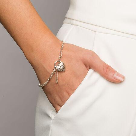 "19cm (7.5"") Filigree Heart Curb Bracelet in Sterling Silver"