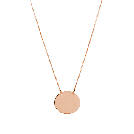 Oval Disc Necklace in 10ct Rose Gold
