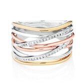 Ring with Diamonds in 10ct Yellow, White & Rose Gold