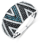 Online Exclusive - Ring with 0.60 Carat TW of Enhanced Blue & Black Diamonds in 10ct White Gold