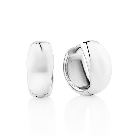 Polished Huggies in Sterling Silver