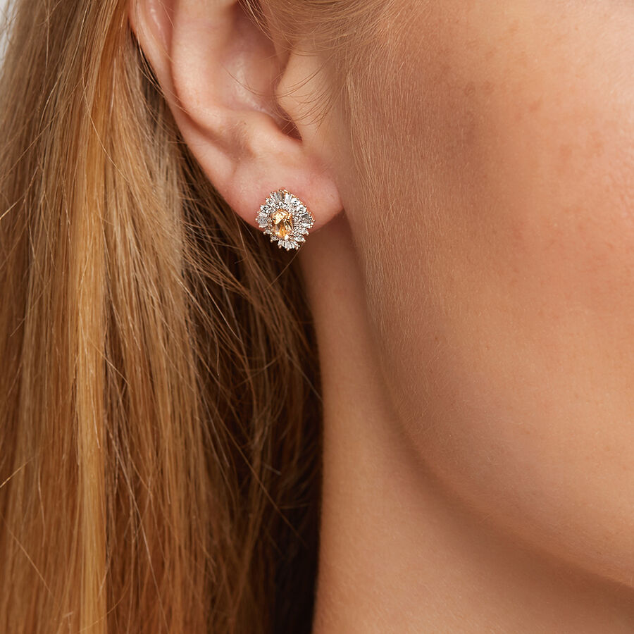 Earrings with Morganite & 0.50 Carat TW Of Diamonds in 10ct Rose Gold