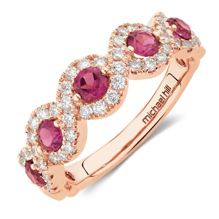 Ring with 0.46 Carat TW of Diamonds & Rhodolite Garnet in 14ct Rose Gold