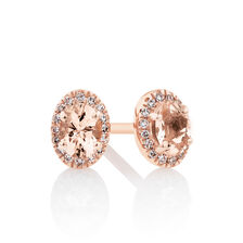 Halo Stud Earrings with Diamonds in 10ct Rose Gold