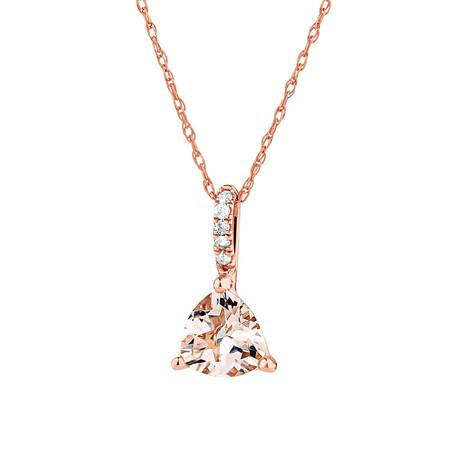 Pendant with Morganite & Diamonds in 10ct Rose Gold