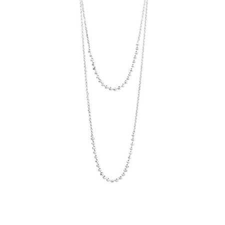 "40cm (16"") Double Strand Adjustable Necklace in Sterling Silver"