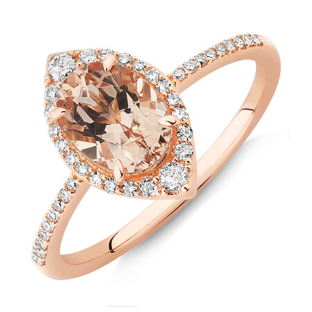 Halo Ring with Morganite & 0.20 Carat TW of Diamonds in 10ct Rose Gold