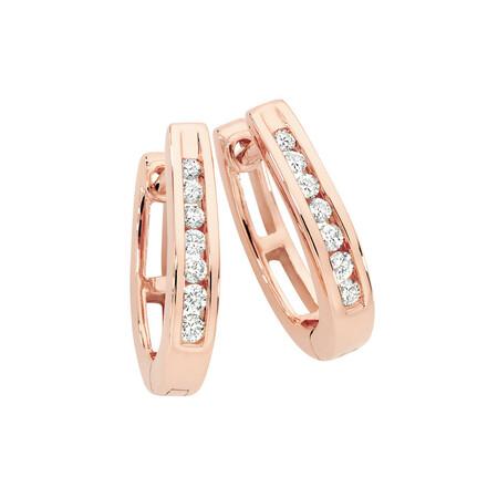 Huggie Earrings 0.15 Carat TW of Diamonds in 10ct Rose Gold