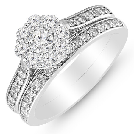 Bridal Set with 1.00 Carat TW of Diamonds in 14ct White Gold