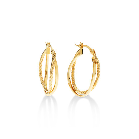 Plain Rope Crossover Earrings in 10ct Yellow Gold
