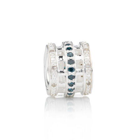 Online Exclusive - Charm with 0.15 Carat TW White and Enhanced Blue Diamonds in Sterling Silver