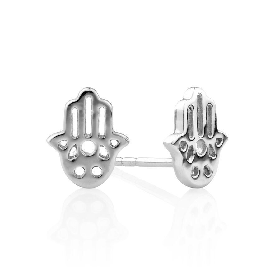 Stud Earring Set with Hamsa, Bar & Ball in Sterling Silver