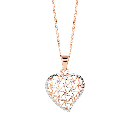 Heart Pendant in 10ct Rose & White Gold