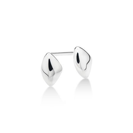 Organic Shape Stud Earrings in Sterling Silver