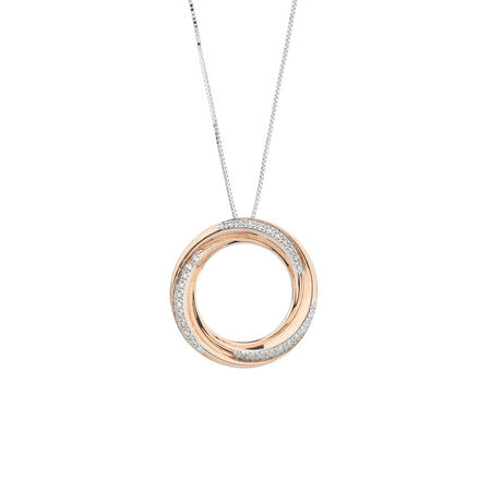 Circle Pendant with Diamonds in 10ct Rose & White Gold