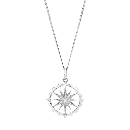Star Talisman Pendant with Diamonds in Sterling Silver