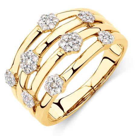 Cluster Ring with 1/3 Carat TW of Diamonds in 10ct Yellow Gold