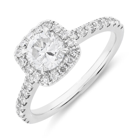 Evermore Halo Engagement Ring with 1.38 Carat TW of Diamonds in 14ct White Gold