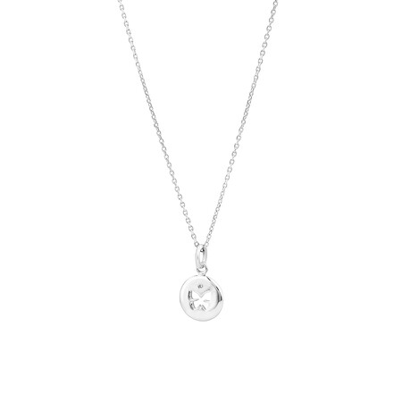Engraved Pendant in Cubic Zirconia & Sterling Silver
