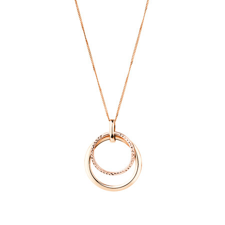 Double Circle Pendant in 10ct Rose Gold