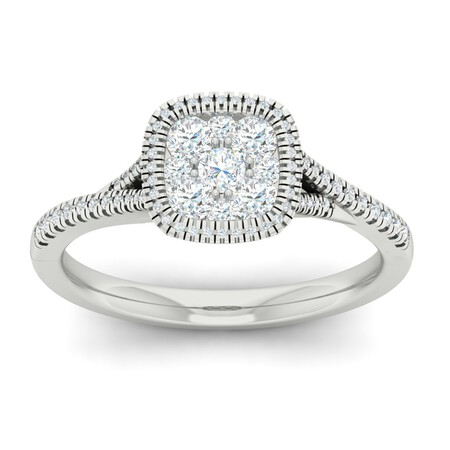 Cluster Ring with 0.62 Carat TW of Diamonds in 10ct White Gold