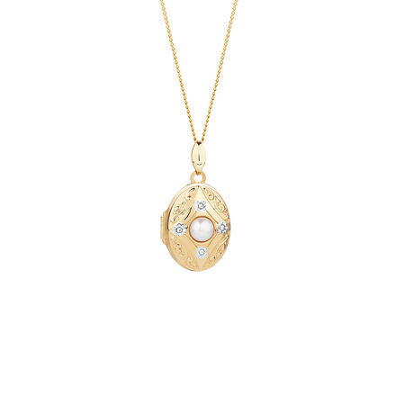 Oval Locket with Freshwater Pearl & Diamonds in 10ct Yellow Gold